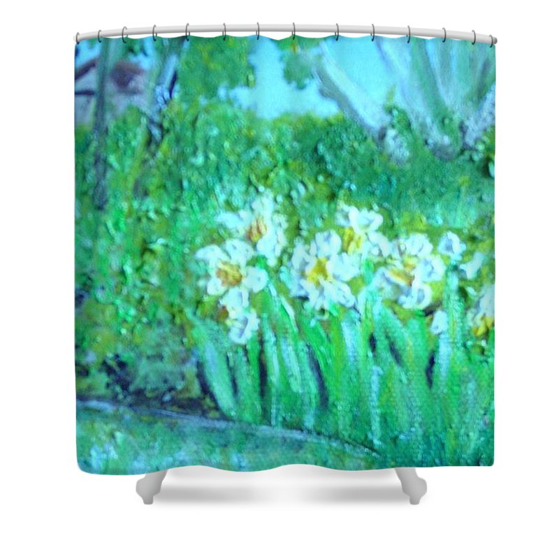 Daffodils Shower Curtain featuring the painting Dependable Daffodils by Laurie Morgan