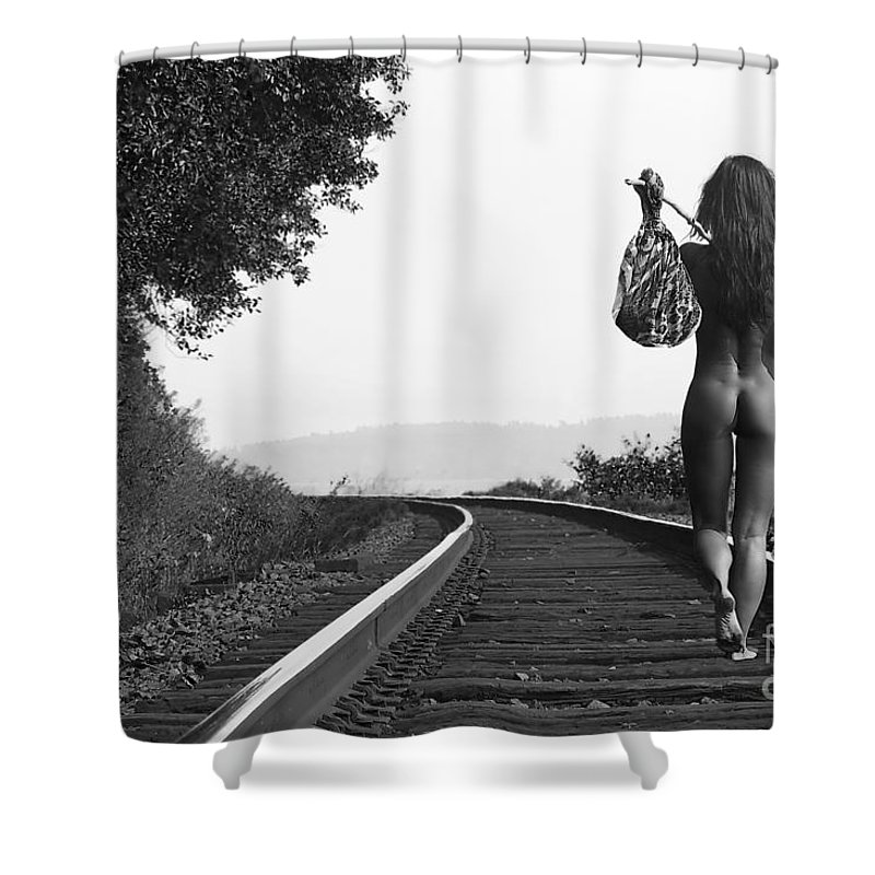 Nude Shower Curtain featuring the photograph Derailed by David Naman