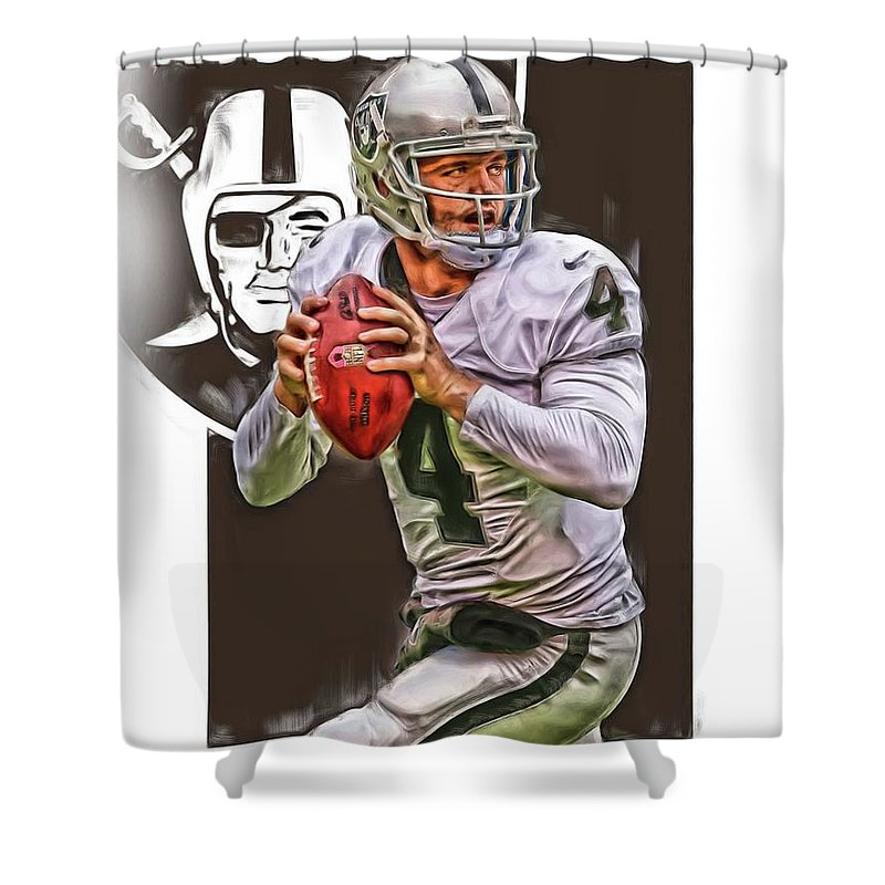 Derek Carr Shower Curtain Featuring The Mixed Media Oakland Raiders Oil Art By Joe