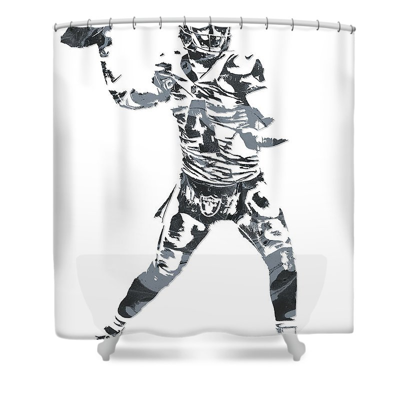 Derek Carr Shower Curtain Featuring The Mixed Media Oakland Raiders Pixel Art 11 By