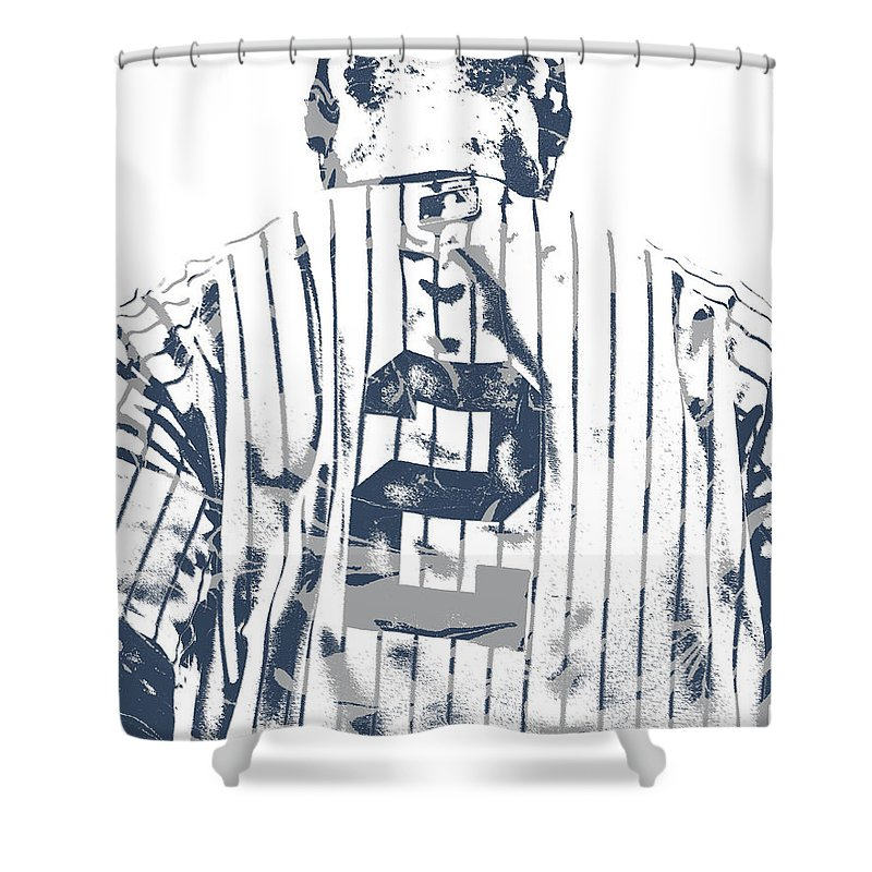 Derek Jeter Shower Curtain Featuring The Mixed Media New York Yankees Pixel Art 11