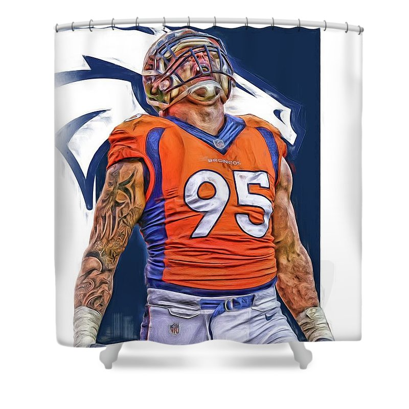 Derek Wolfe Shower Curtain Featuring The Mixed Media Denver Broncos Oil Art By Joe