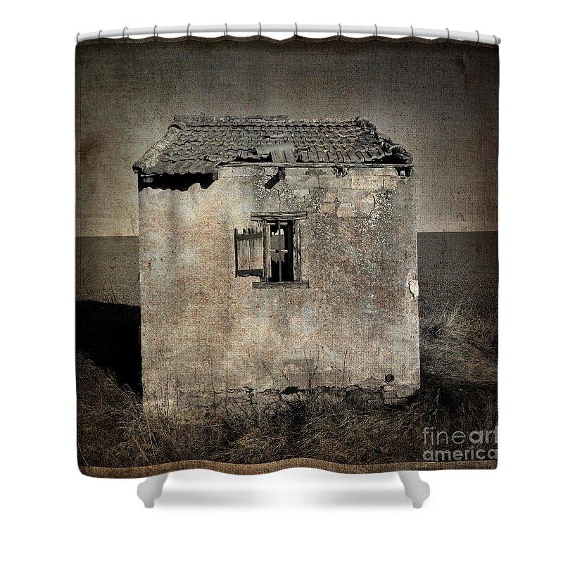 Architecture Shower Curtain featuring the photograph Derelict Hut Textured by Bernard Jaubert