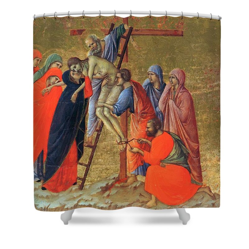 Descent Shower Curtain featuring the painting Descent From The Cross 1311 by Duccio
