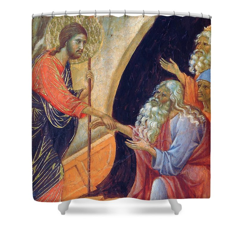 Descent Shower Curtain featuring the painting Descent Into Hell Fragment 1311 by Duccio