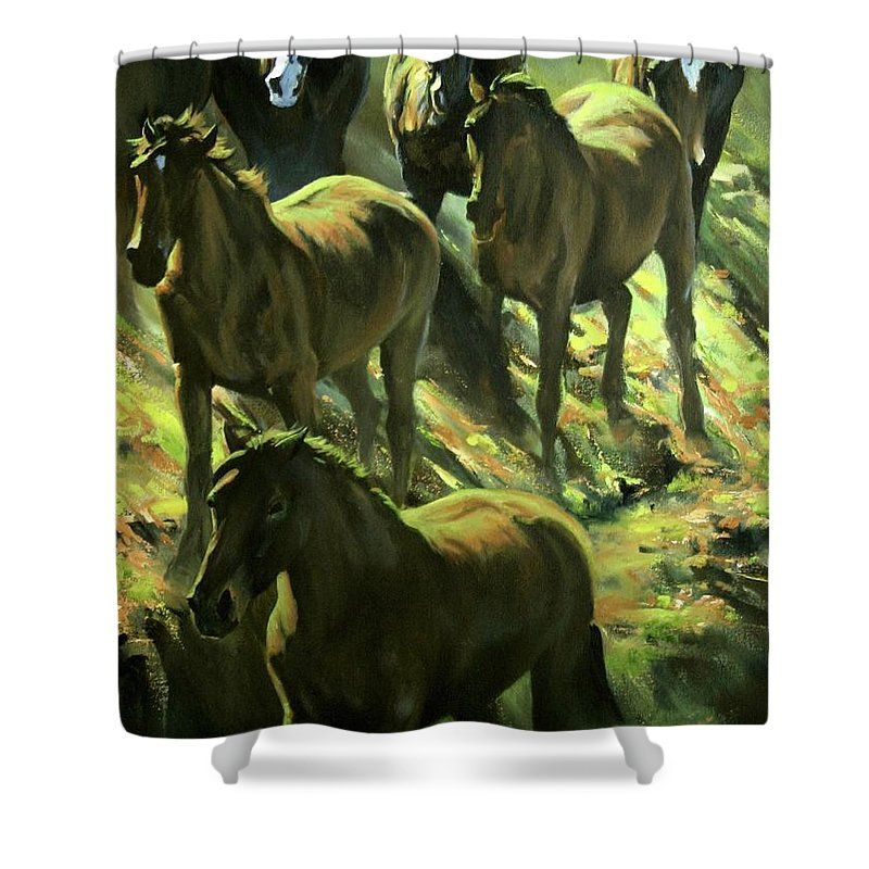 Horses Shower Curtain featuring the painting Descent by Mia DeLode