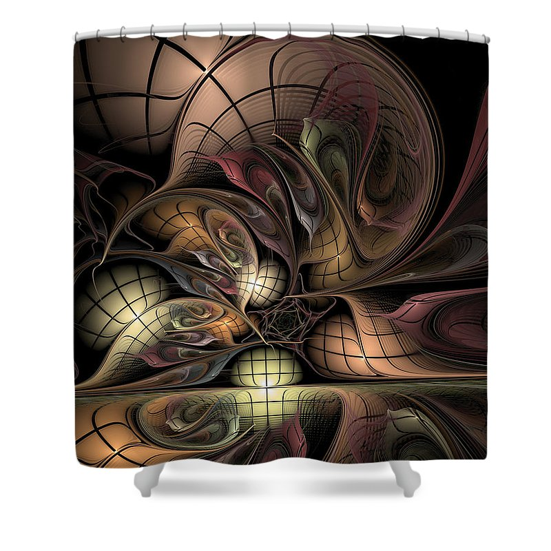 Abstract Shower Curtain featuring the digital art Describing Descartes by Casey Kotas
