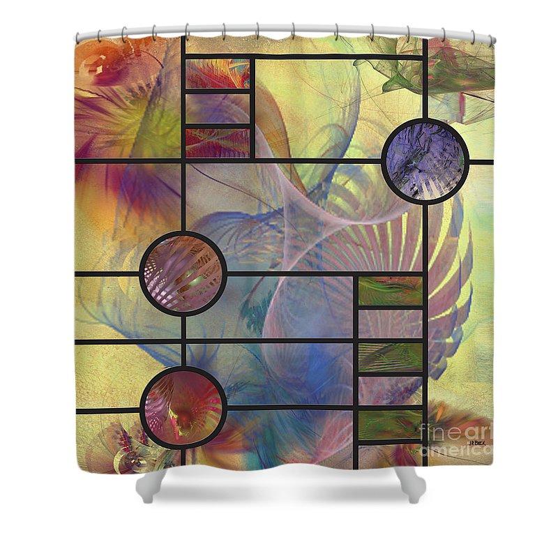 Desert Blossoms Shower Curtain featuring the digital art Desert Blossoms - Square Version by John Beck