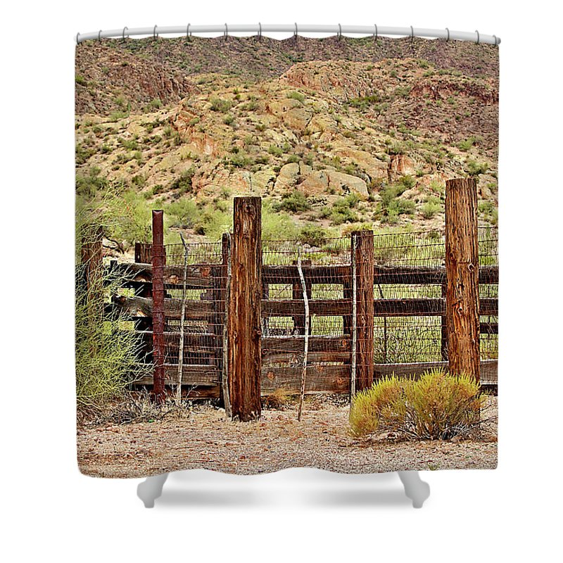 Corral Shower Curtain featuring the photograph Desert Corral by Phyllis Denton