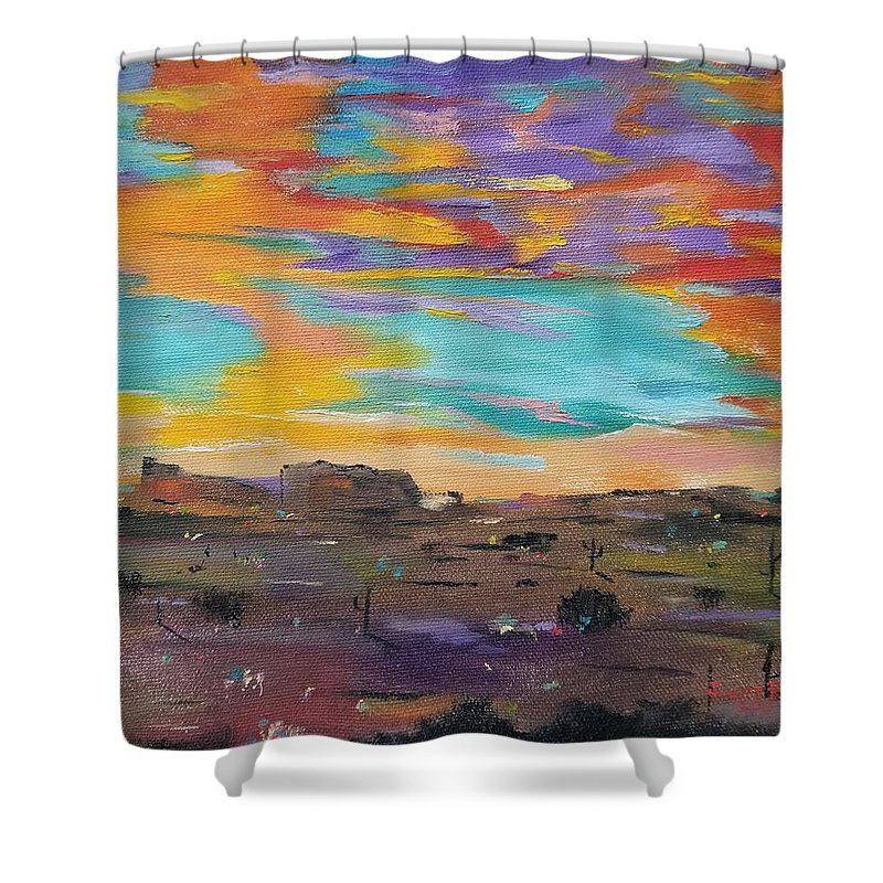 Desert Shower Curtain featuring the painting Desert Finale by Judith Rhue