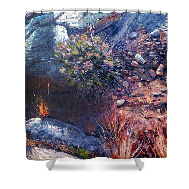 Desert Shower Curtain featuring the painting Desert Floor by Donald Maier