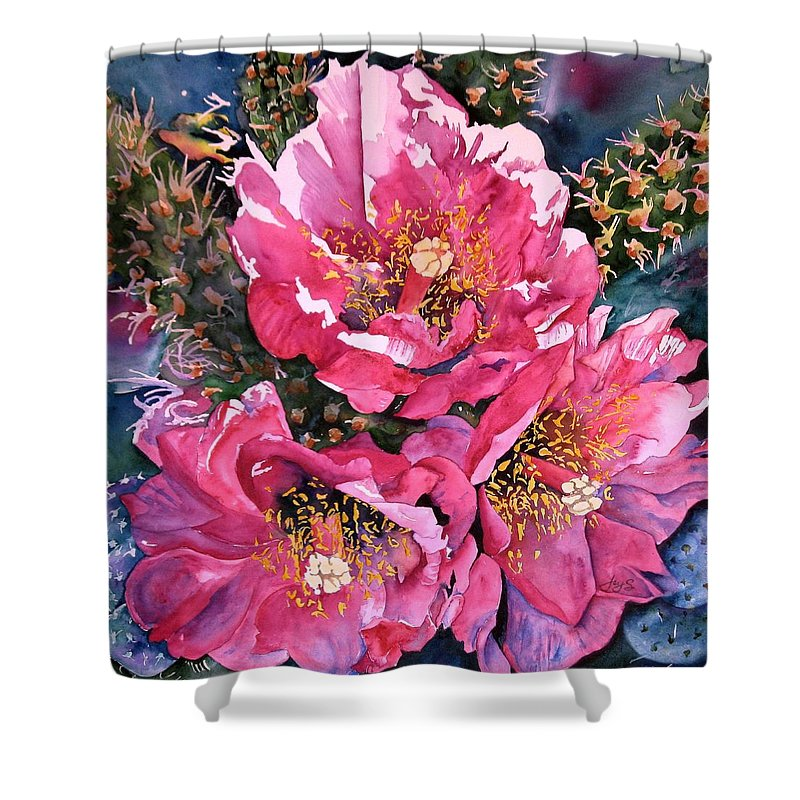 Watercolor Shower Curtain featuring the painting Desert Full Bloom by Joy Skinner