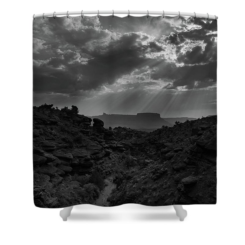 Black And White Shower Curtain featuring the photograph Desert Light by Erik Williams