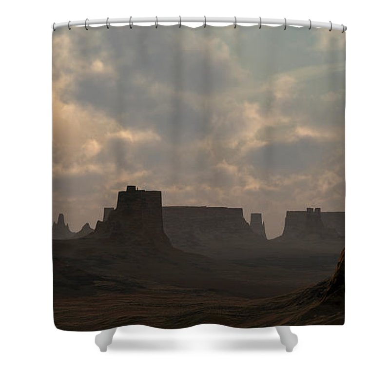 Desert Shower Curtain featuring the digital art Desert Morning by Richard Rizzo