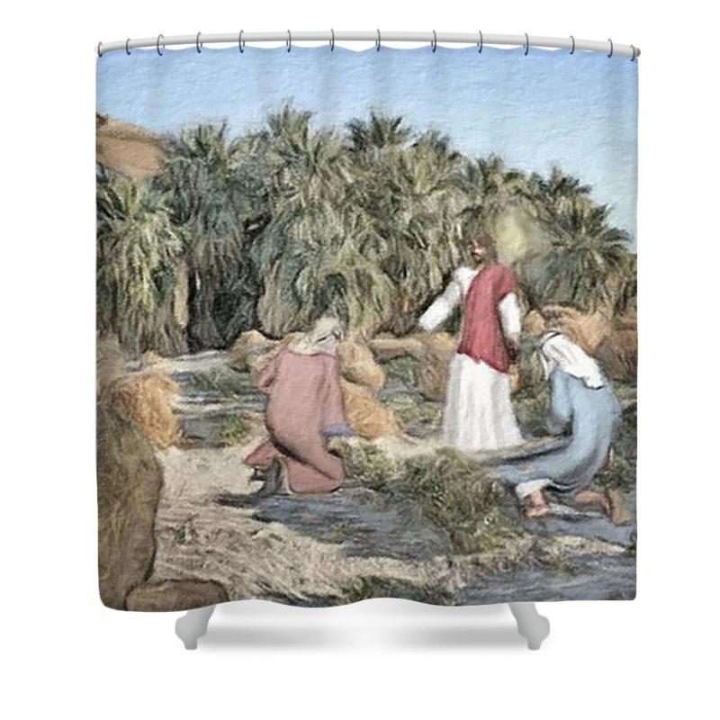 Jesus Shower Curtain featuring the digital art Desert Jesus by Robert Barlow