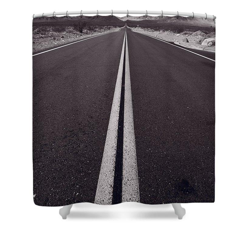 California Shower Curtain featuring the photograph Desert Road Trip B W by Steve Gadomski