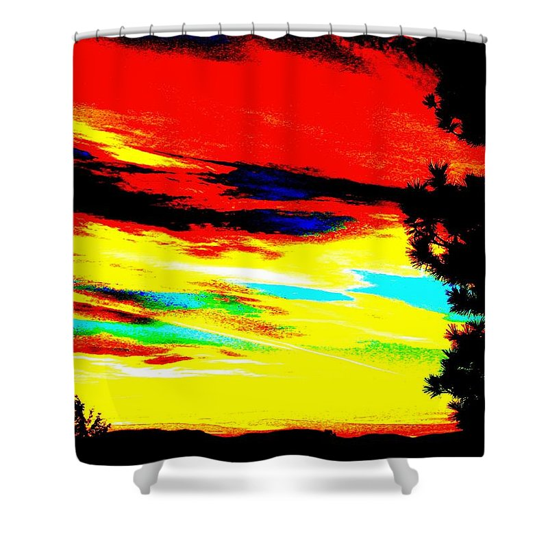 Abstract Shower Curtain featuring the digital art Desert Sky by Will Borden