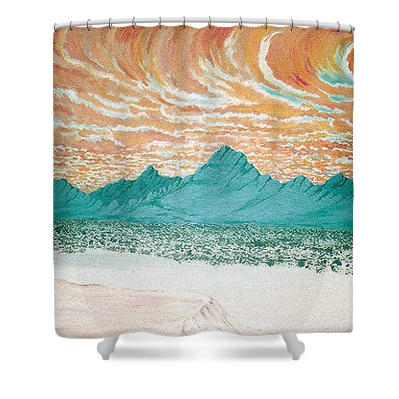 Desertscape Shower Curtain featuring the painting Desert Splendor by Marco Morales