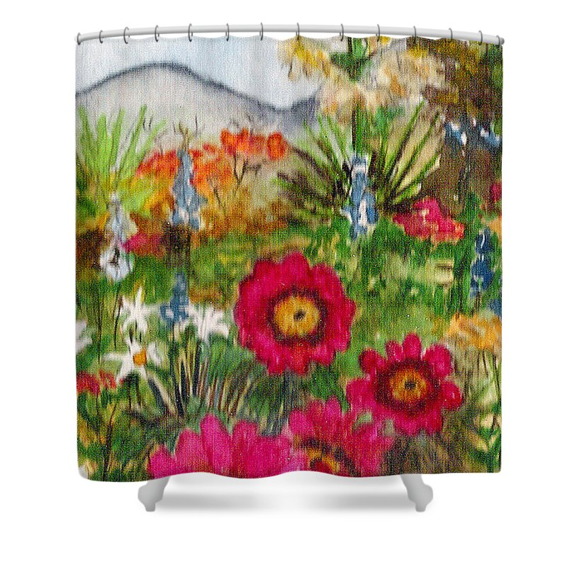 Spring Flowers Shower Curtain featuring the painting Desert Spring by Eric Samuelson