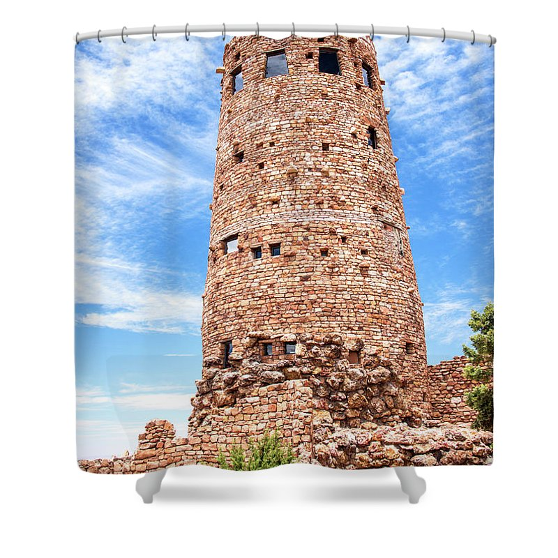 Desert View Tower Shower Curtain featuring the photograph Desert View Tower, Grand Canyon by A Gurmankin