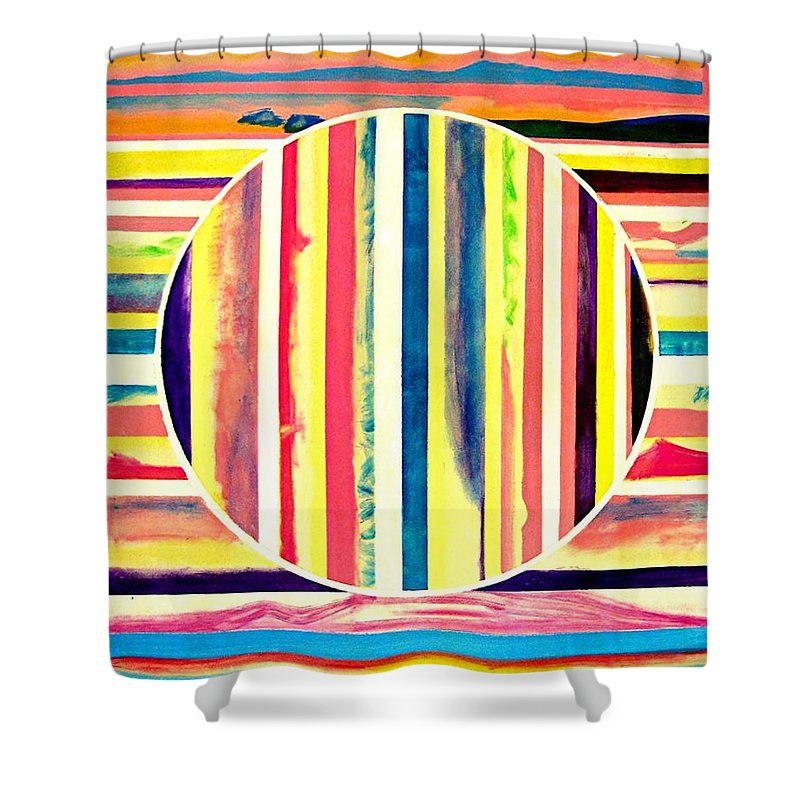 Stripes Shower Curtain featuring the painting Desert World by Barron Holland