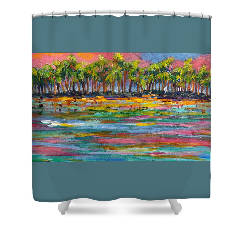 Tropics Shower Curtain featuring the painting Deserted Island by Anne Marie Brown