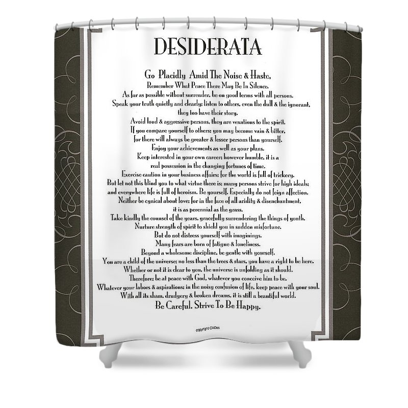 Desiderata Fine Art Poem Poster Print Max Ehrmann Motivational Inspirational Shower Curtain featuring the mixed media Desiderata Black Swirl Sans by Desiderata Gallery