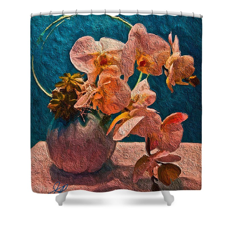 Blue Shower Curtain featuring the painting Designer Floral Arrangement by Joan Reese