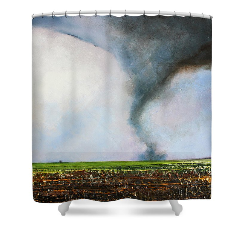 Tornado Shower Curtain featuring the painting Desolate Tornado by Toni Grote