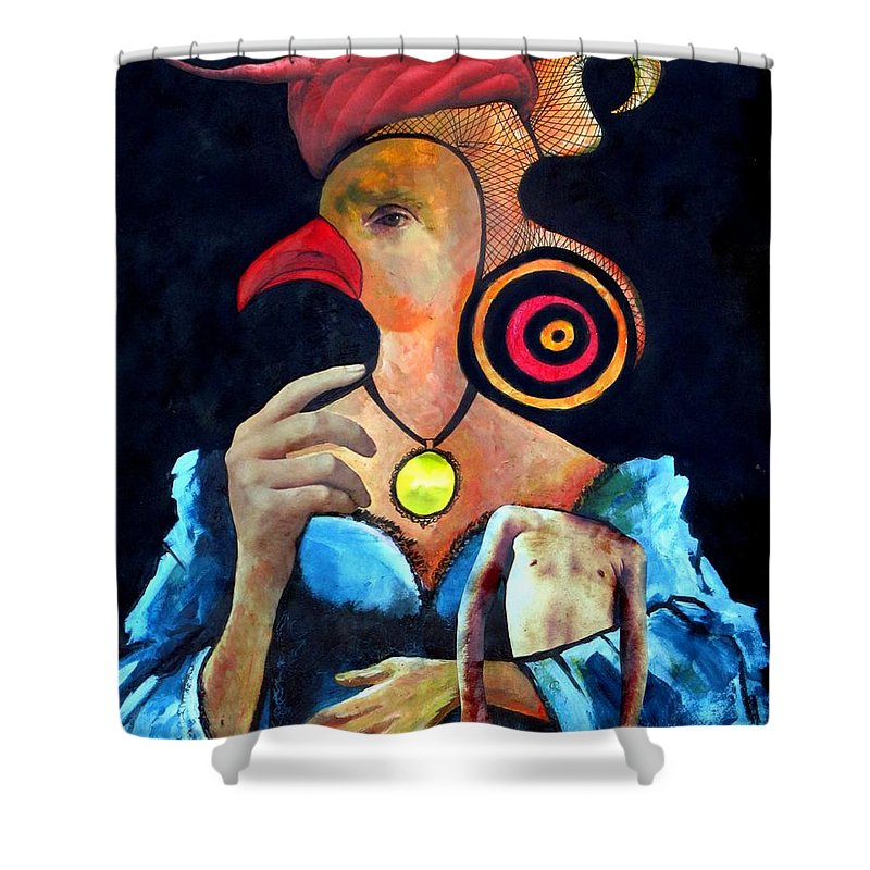 Housewife Shower Curtain featuring the digital art Desperate Housewife by Veronica Jackson