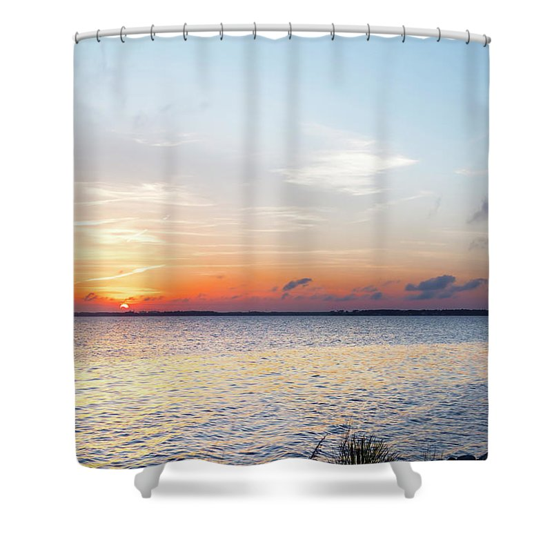 Destin Shower Curtain featuring the photograph Destin Sunset Over The Bay by Kay Brewer