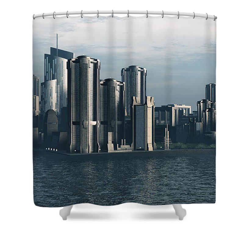 Futurism Shower Curtain featuring the digital art Destiny by Richard Rizzo