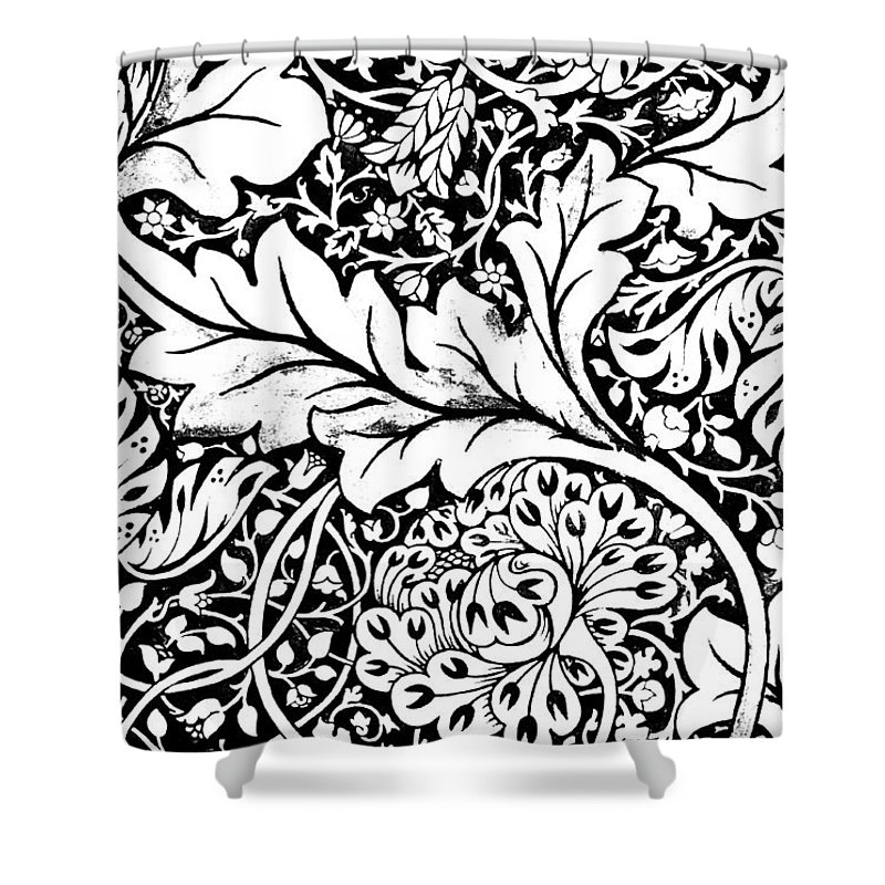 William Morris Shower Curtain Featuring The Drawing Detail Of A Vintage Textile Pattern Design By