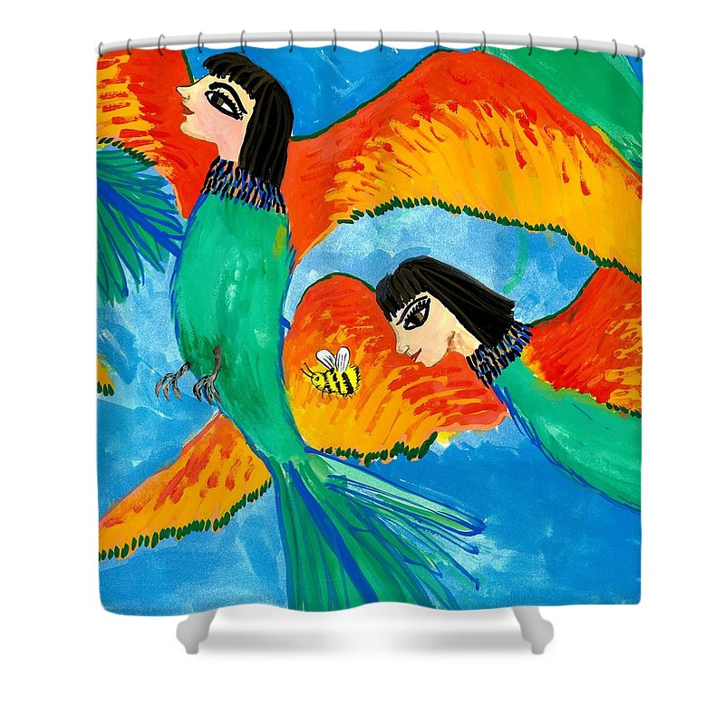 Sue Burgess Shower Curtain featuring the painting Detail Of Bird People Little Green Bee Eaters Of Upper Egypt 2 by Sushila Burgess