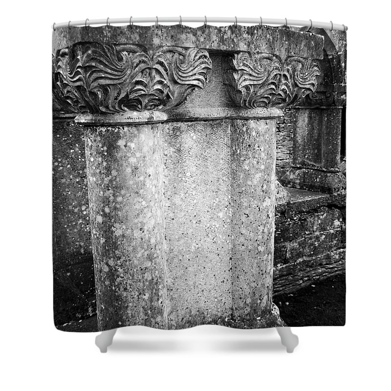 Irish Shower Curtain featuring the photograph Detail Of Capital Of Cloister At Cong Abbey Cong Ireland by Teresa Mucha
