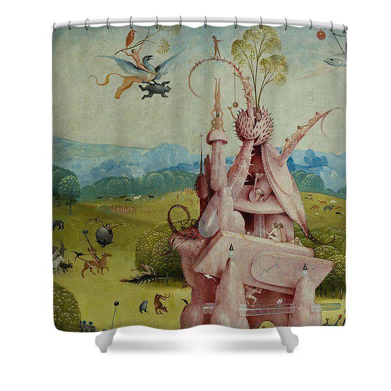 Central Panel Shower Curtain featuring the painting Detail Of Central Panel The Garden Of Earthly Delights by Hieronymus Bosch