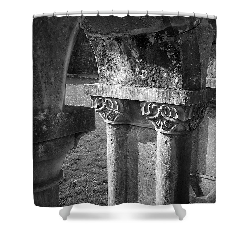 Irish Shower Curtain featuring the photograph Detail Of Cloister At Cong Abbey Cong Ireland by Teresa Mucha
