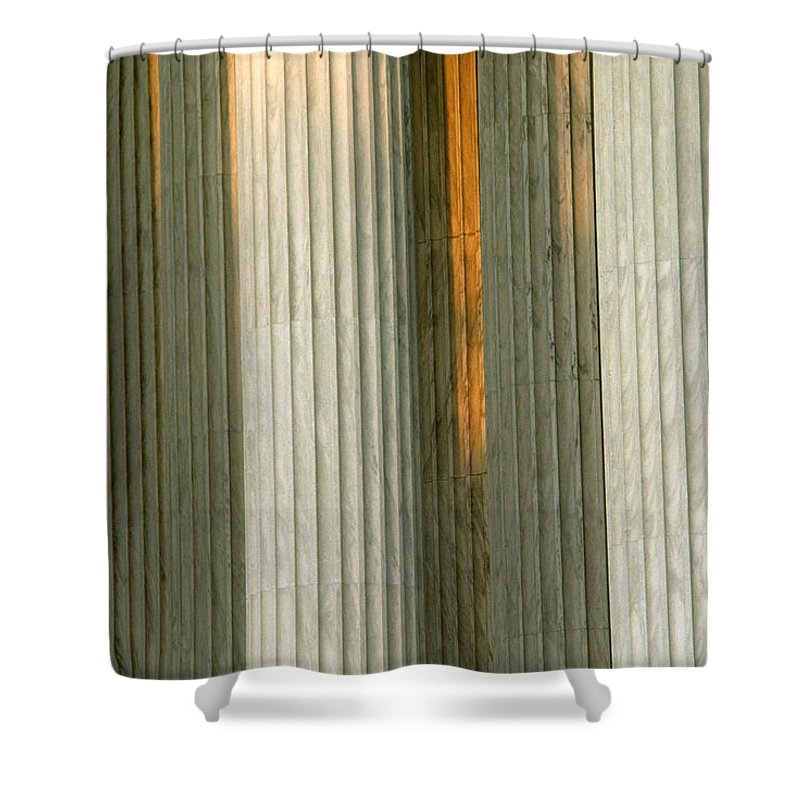 Nobody Shower Curtain featuring the photograph Detail Of Columns At The Supreme Court by Kenneth Garrett
