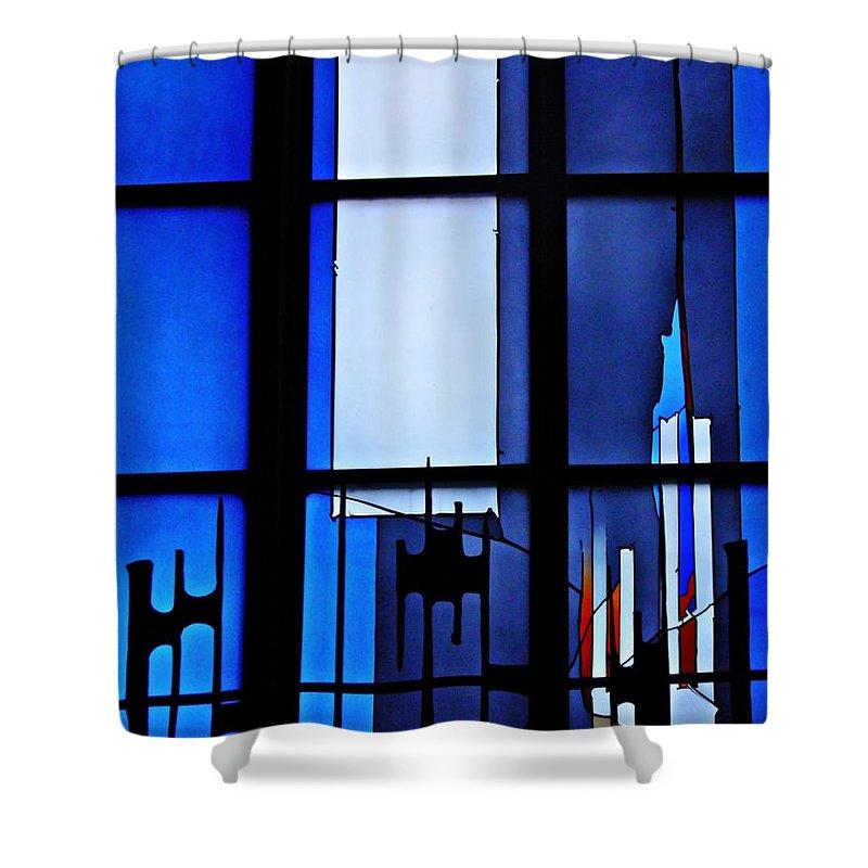 Johannes Schreiter Shower Curtain featuring the photograph Detail Of Modern Johannes Schreiter Window Mainz 2 by Sarah Loft