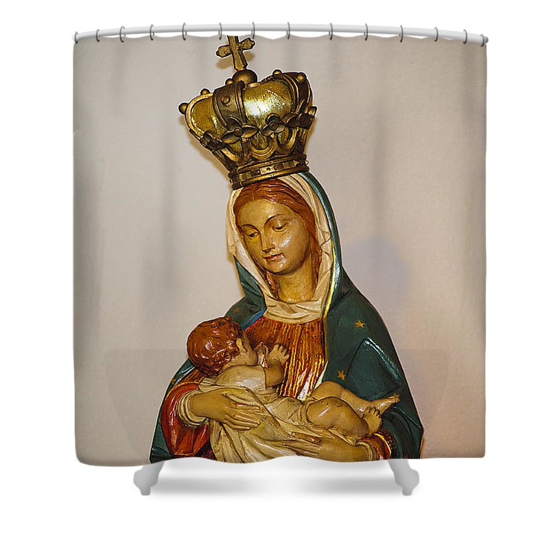 Mary Shower Curtain featuring the photograph Detail Of Oldest Mission Chapel by Kenneth Albin