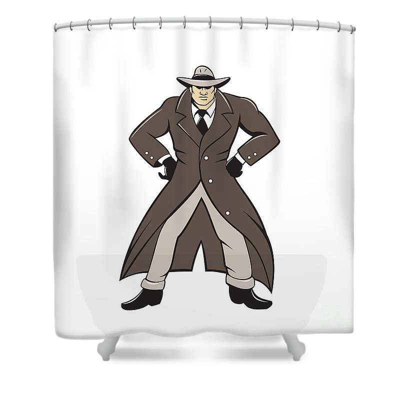 Detective Shower Curtain Featuring The Digital Art Trenchcoat Hands Akimbo Cartoon By Aloysius Patrimonio