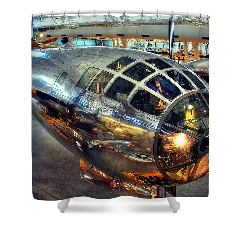 Enola Gay Shower Curtain featuring the photograph Deter It by Mitch Cat