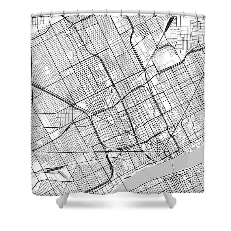 Detroit Michigan Usa Light Map Shower Curtain on