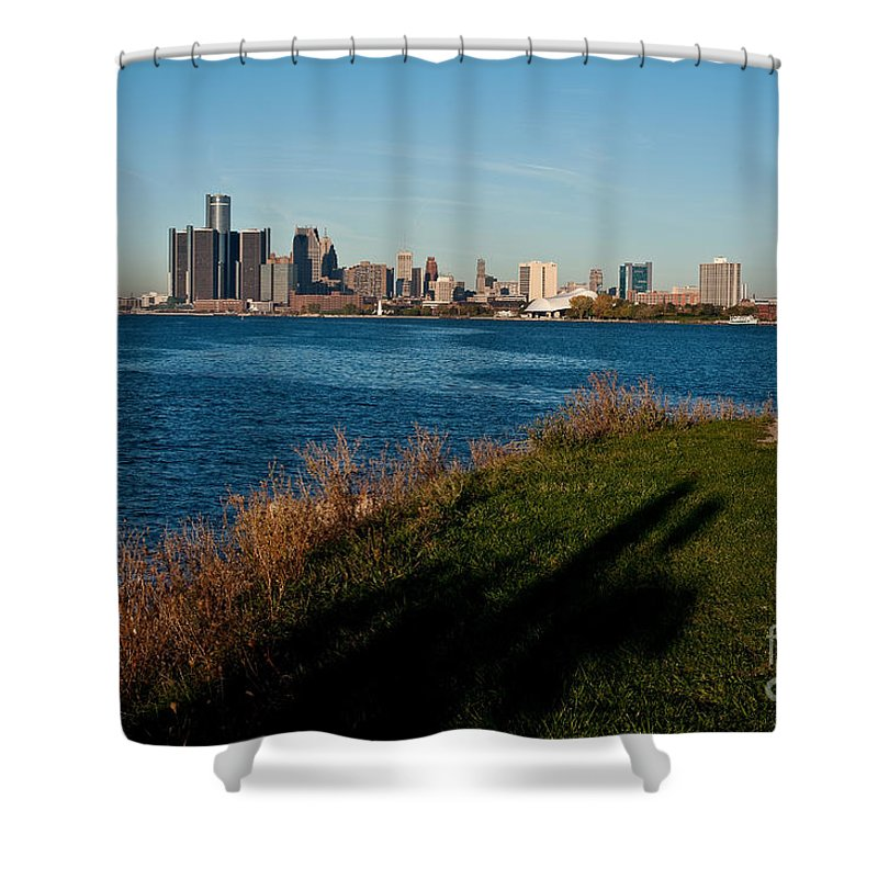 Detroit Shower Curtain featuring the photograph Detroit Skyline And Shadow by Steven Dunn