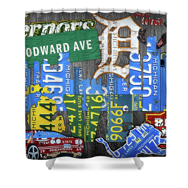 Detroit The Motor City Michigan License Plate Art Collage Shower Curtain Featuring Mixed Media