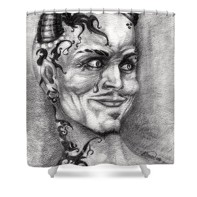 Satan Shower Curtain featuring the drawing Devil May Cry by Alban Dizdari