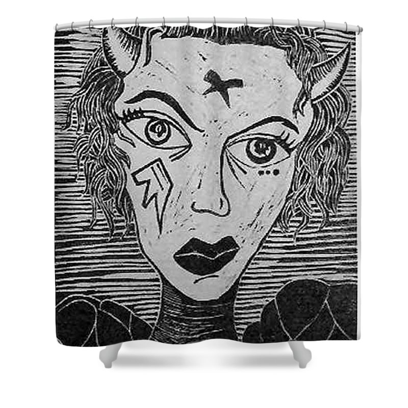 Prints Shower Curtain featuring the print Devil Print Two Out Of Five by Thomas Valentine