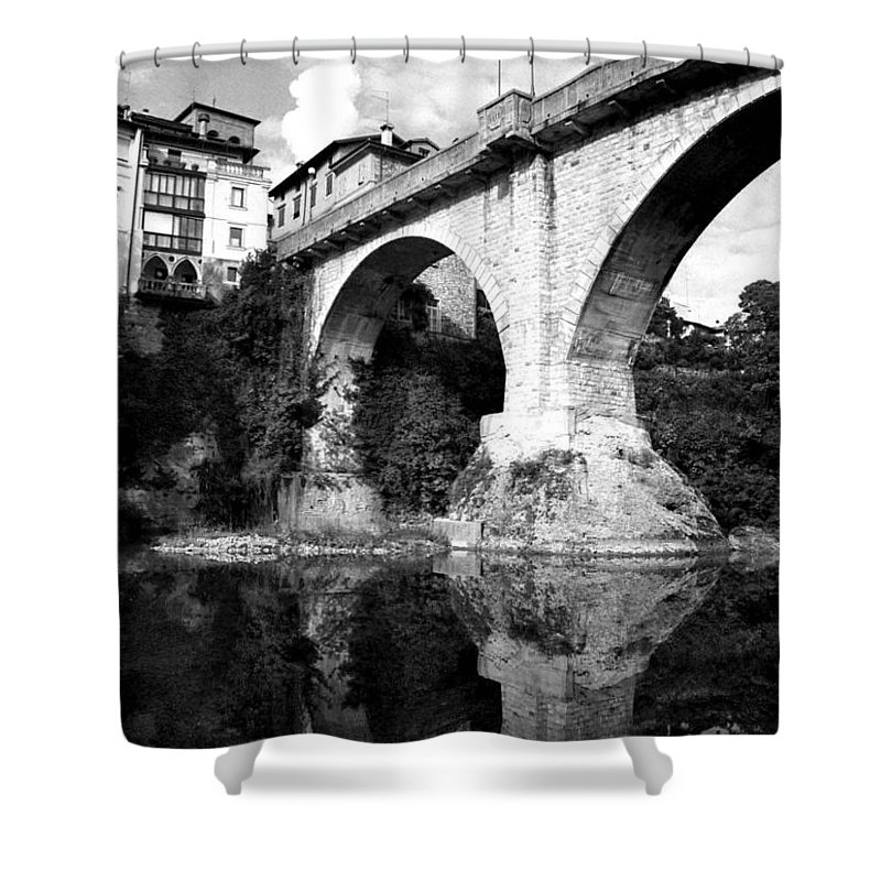 Italy Shower Curtain featuring the photograph Devil's Bridge by Donna Corless