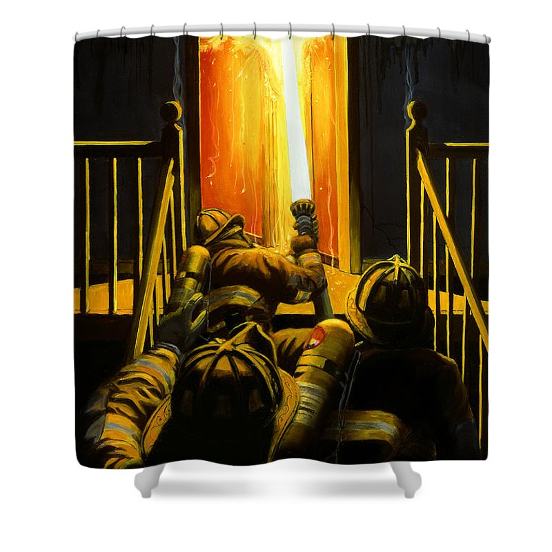 Firefighting Shower Curtain featuring the painting Devil's Stairway by Paul Walsh
