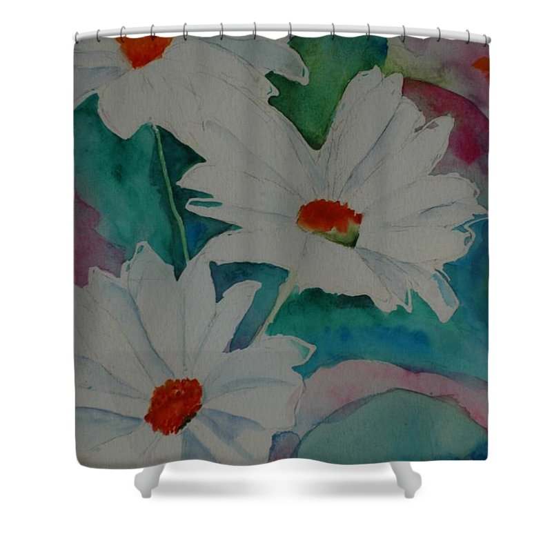 Daisies Shower Curtain featuring the painting Devin's Dasies by Melinda Etzold